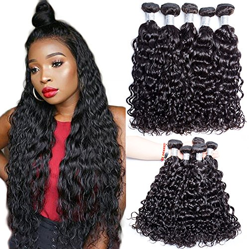 Hair Hot Besten Brush (Maxine High Quality 100% Brazilian Virgin Human Hair 7A Grade Wet and Wavy Hair Weave Natural Color Water Wave Hair Extensions 3 Bundles 100g/pcs Virgin Human Hair(10 12 14inches))