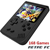 Handheld Game Console, Retro FC Game Console 3 Inch 168 Classic Games , Birthday Present for Children - Black