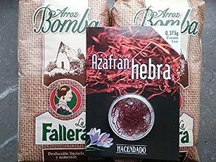 2kg Riso Bomba la Fallera + 0,375gr. Zafferano Hacendado per paells