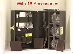 Luxurious Necessities Leather Briefcase Traveling Bar Set with Accessories (Multicolour)