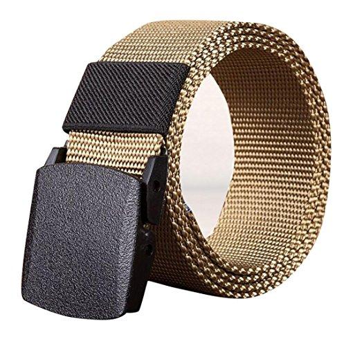 SUCES Männer Outdoor Sports Nylon Bund Leinwand Web Gürtel Dazzling Damen und Herren Doppel-Ring Einfarbig Stricken Canvas Web Gürtel Belt (110, Khaki) -