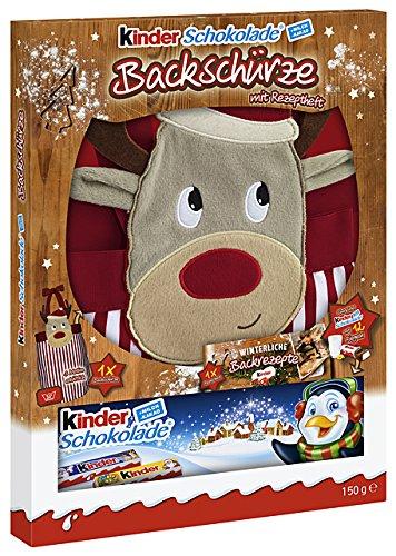 kinder Schokolade mit Backschürze, 1er Pack (1 x 150 g) - Unterschiedliche Motive (Renntier, Eisbär oder Pinguin)
