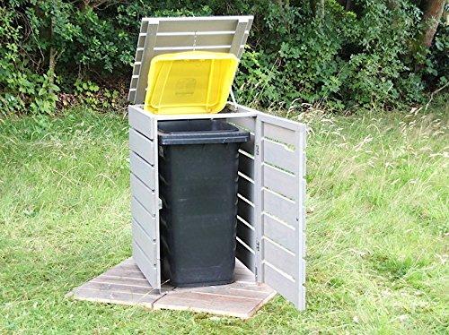 1er Mülltonnenbox / Mülltonnenverkleidung 120 L Holz, Grau Geölt - 2