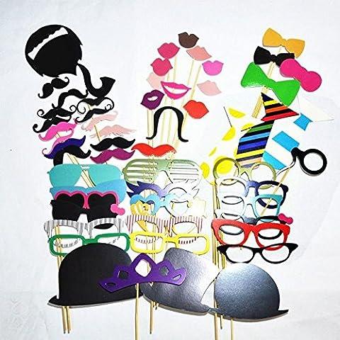 [Accessoires de Déguisements] Ohuhu® 58pcs Photomatons Props kit de DIY pour l'Anniversaire ,le Mariage ,le Noël Favor & Party Supplies, Dress-up Accessoires, Costumes avec Moustache, des Lunettes, etc.
