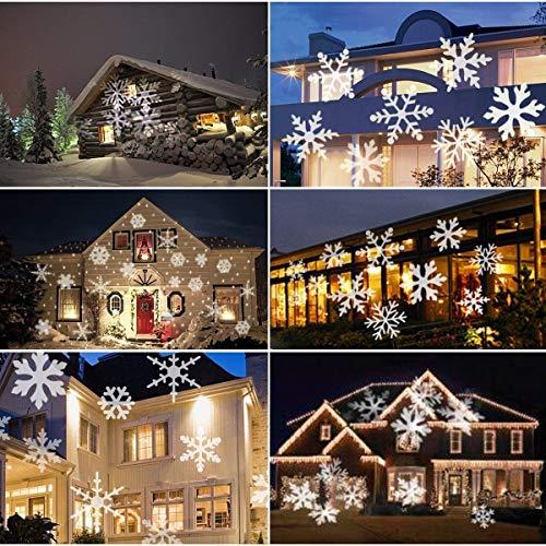 LED Projektor Lichter,LED Projektionslampe Weiß Snowflake Landschaft Weihnachts Wandstrahler Außenstrahler Lichteffekte dynamische Motive, Party Licht, Gartenlicht für Festen DJ Xmas - 5