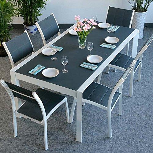 Table Violet et 6 chaises Lea - BLANC & GRIS | Table extensible 300cm pour l'intérieur et l'extérieur