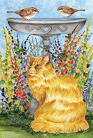 Toland Home Garden Kitty at The Birdbath 28 x 40-Inch Decorative USA-Produced House Flag