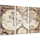 Cuadro Moderno Fotografico Mapa Mundi Antiguo, Mapa Vintage, 97 x 62 cm, ref. 26504