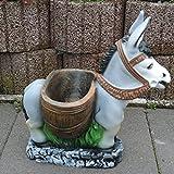 Dekofigur Esel zum Bepflanzen Muli Gartenfigur Tierfigur Terrasse Blumentopf