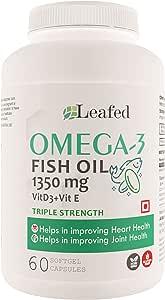Leafed Fish Oil Omega 3 Triple strength 1350 mg with Vitamin D3 & Vitamin E (100% RDA) - 60 Softgel Capsules