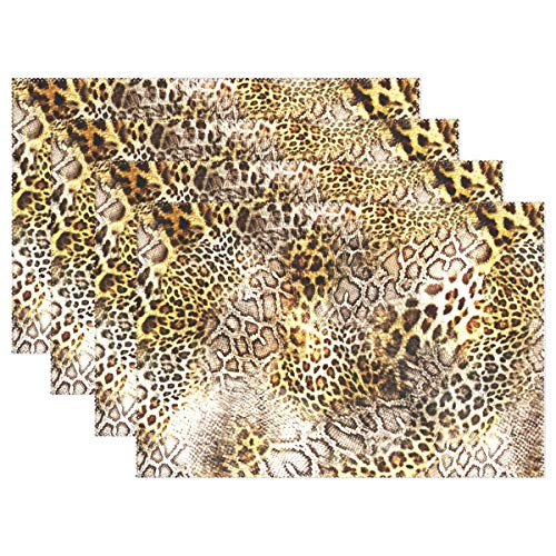 Animal Leopard Print Placemats for Dining Table Heat Resistant Kitchen Table Decor Washable Table Mats Set of 6 ()