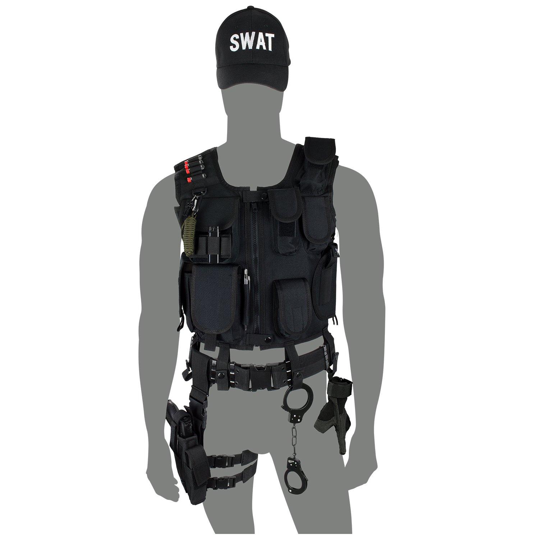 extrêmement unique plus bas rabais luxuriant dans la conception SWAT Costume + Pistolet tactique Gilet tactique, étui de jambe, menottes et  casquette