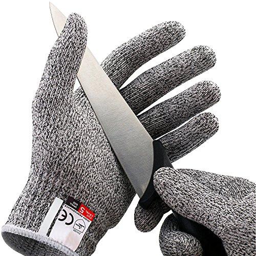 gzq Arbeitshandschuhe schnittfest Handschuhe Level 5Schutz Sicherheit Küche Schnitte Handschuhe für Oyster Shucking, Fisch Filet Verarbeitung, Mandoline zum Schneiden, Fleisch und Holz, 1Paar, grau (Sicherheit-handschuh)