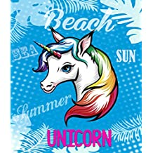 TEXTIL TARRAGO Toalla de Playa Gigante 180x140 cm Unicornio Azul 100% Algodón