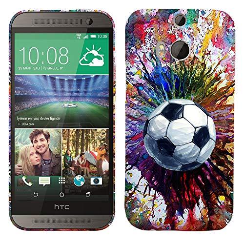 Glisten-Design Hard Kunststoff Schutzhülle für HTC One M8-Vintage Farbe Fußball Muster Bedruckt Slim Profil Niedlichen Snap auf der Rückseite Cover (Htc M8 Harten Fall)
