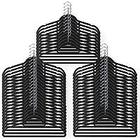 Schramm 50Unidades Antideslizante Terciopelo Perchas Negro Terciopelo Antideslizante para Ropa Pantalones Camisas Traje 360° Giratorio Gancho Muescas al Final del asa 50Unidades
