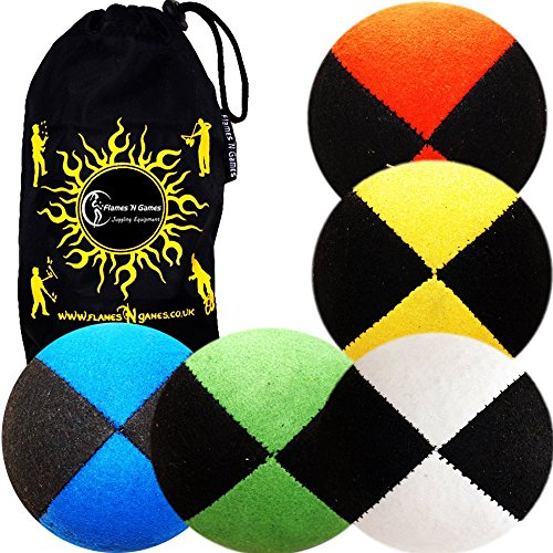 5x Pro Thud Juggling Balls - Deluxe (SUEDE) Professional Juggling Ball Set of 5 with Fabric Travel B  available at amazon for Rs.3969