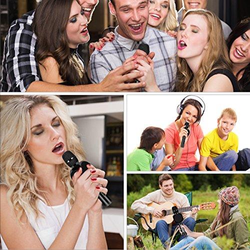 Drahtlose Bluetooth Karaoke Mikrofon Lautsprecher HURRISE Echo Rauschunterdrückung Mikrofon mit Aufnahme von Sprach für Smartphone iPad PC (Schwarz) - 7