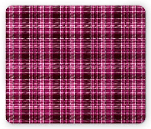 Plaid Mouse Pad, Classical Tartan Pattern in Pink Shades Traditional Geometric Desgin, Standard Size Rectangle Non-Slip Rubber Mousepad, Maroon Magenta and Pink -