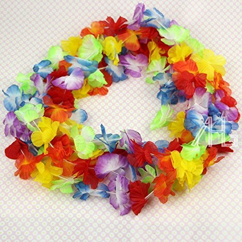 50 Lei Unisex Fancy Dress Flower Garlands Necklace Hawaiian Tropical Beach Party by AHG