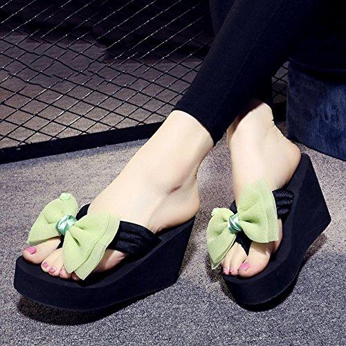 Estate Sandali 9CM tacchi alti Donna estate femmina antiscivolo flip flop Sandali da spiaggia di modo per 18-40 anni Colore / formato facoltativo 1001