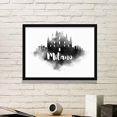 DIYthinker Milano Italien Zeichen Ink Stadt Malerei Einfache Bilderrahmen Kunstdrucke von Paintings Startseite Wandtattoo Medium Schwarz