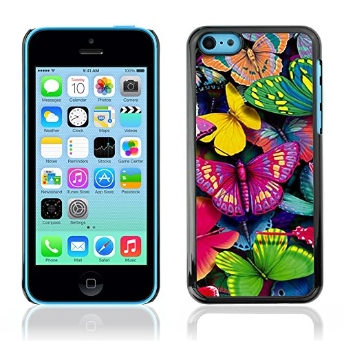 Graphic4You Blue Butterfly And Flowers Design Harte Hülle Case Tasche Schutzhülle für Apple iPhone 5C Design #7