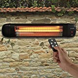 Large Wall Mounted Quartz Patio Heater for Garden, Outdoor & Indoor, 3 Power Settings with Remote Control, 2000W by Garden Glow (Wall Mounted Heater)