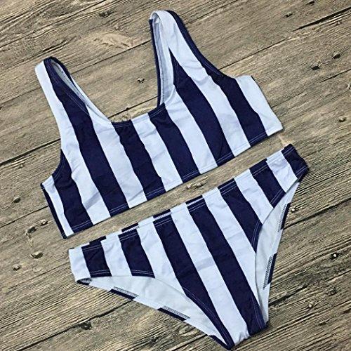 Femme Maillot De Bain deux pièces, Koly 2018 Été vacances sexy Tankinis Push-up Bikini Set a Rayé Tenues de plage mer piscine cadeau lover Swimsuit Trikini Swimwear Bleu