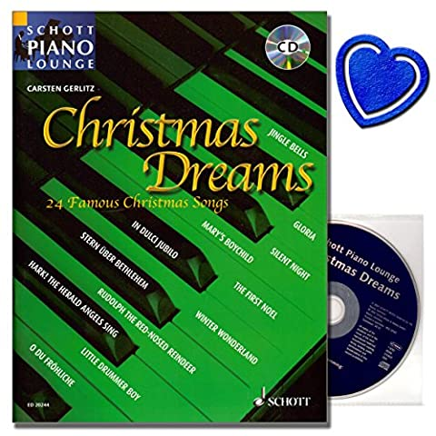 Christmas Dreams - 24 der bekanntesten Weihnachtslieder in neuem Stil - alle Stücke sind auch auf der Begleit CD - mit bunter herzförmiger Notenklammer