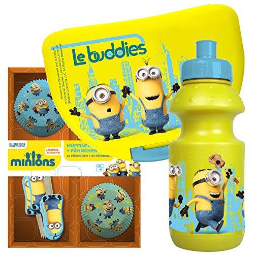 MINIONS Geschenkset mit Brotdose Trinkflasche und 48tlg. Muffin Set