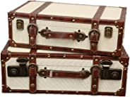 Holiday necessities Set Of 2 Decorative Vintage Suitcase Luggage Box With Handles And Locking Clasps,for Home Decor Displays