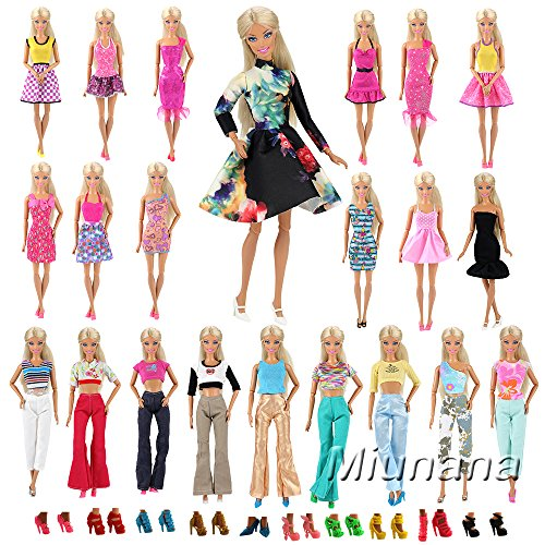 15x articulos=5x Vestidos estilo al azar Ropa 10 pares Zapatos Accesorios como Regalo Navidad para Barbie Muñeca - ESTILO ALEATORIO
