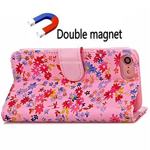 Voguecase® Pour Apple iPhone 7 4,7 Coque, Étui en cuir synthétique chic avec fonction support pratique pour iPhone 7 4,7 (Petit floral-Marron)de Gratuit stylet l'écran aléatoire universelle Petit floral-Pink