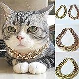 UxradG verstellbares Halsband für Hunde und Katzen, coole Punk-Kette, vergoldet, 36 cm (Gold/Rotgold)