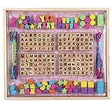 B&Julian Holzperlen Set zum auffädeln für Kinder natur Buchstaben bunt holz Fädelperlen 214 stk. 8 Schnüre in Fädelbox zum Basteln von Schmuck, Armbändern und Freundschaftsarmbändern. Holzspielzeug ab