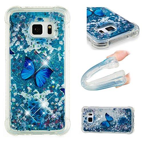 Cozy Hut Samsung Galaxy S7 Edge Hülle, [Liquid Crystal] Soft Flex Silikon Bumper-Style Handyhülle Premium Kratzfest TPU Schutzhülle für Samsung Galaxy S7 Edge - Blauer Meeresschmetterling Edge Flex Hut