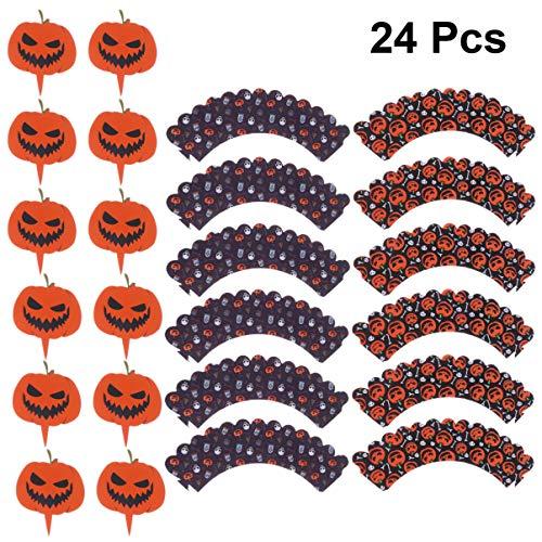 BESTOYARD 24pcs Halloween Kürbis Cupcake Wrapper Topper Cupcake Liner Kuchen Dekoration für Halloween-Party liefert