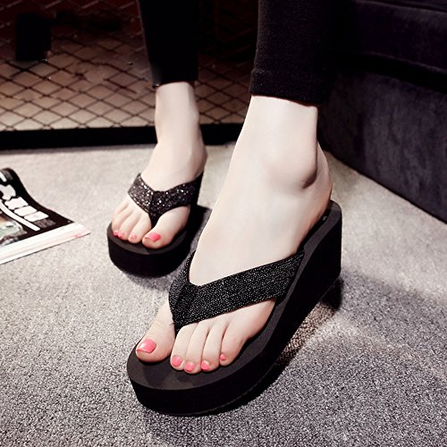 Cailin Sandals, Sandales / flip flops Chaussures de plage Chaussons antidérapants Sandales étudiantes (Noir / Rose / Blanc) ( Couleur : Rose , taille : 35 ) Noir