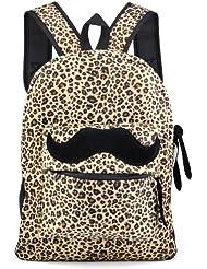 Gleader Reto de lona para mujer del bigote Mochila Bolsa de hombro para hombre leopardo Mochila Satchel