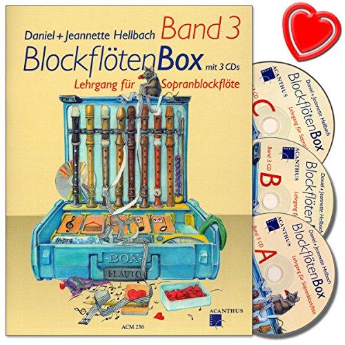 3 - Blockflötenschule mit 3 CDs von Daniel Hellbach - Spielstücke, Improvisationen, Technische Übungen, Theorie und Notenkenntnisse - mit bunter herzförmiger Notenklammer (3. Preis Band)