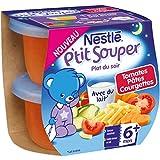 Nestlé Bébé P'tit Souper Tomates Pâtes Courgettes - Plat Légumes et Féculents dès 6 Mois - 2 x 200g - Lot de 8