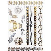 ღ Yh115 Flash Tattoo tatuaje temporal pegatinas etiquetas pulseras de oro joyas de oro etiqueta engomada de la hoja de Metal-metálico del cuerpo