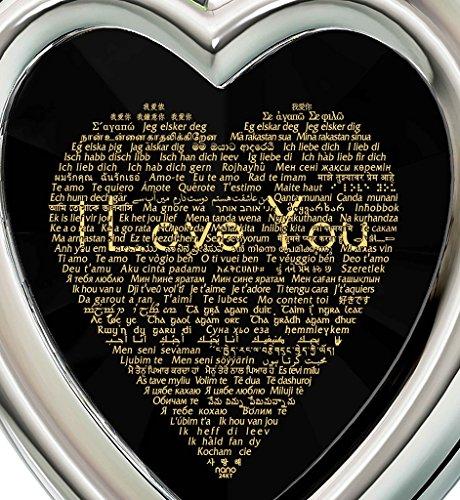 Parure Bijoux Coeur Argent fin - Pendentif avec Je t'aime en 120 langues inscrit en Or 24ct sur Zircon Cubique et Boucles d'Oreille Cristal Swarovski, 45cm Noir