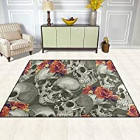 Lieblich Bereich Teppich, Sugar Skull Mexiko Stil Blumenmuster Teppich Super Soft  Polyester Große Rutschfeste Modernen Malerei