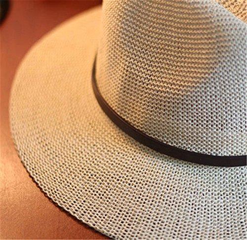 Femmes Filles Mode Été Plage Décoration De Chaîne Bord Large Lin Chapeau De Soleil Chapeau De Jazz blanc B