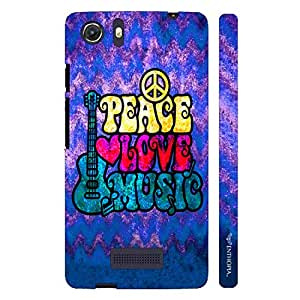 Micromax Canvas Unite 3 Grungy Peace Love Music designer mobile hard shell case by Enthopia