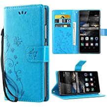 Huawei P8 Coque,iDoer P8 Coque Rabat Portefeuille PC Cuir Anti choc avec Béquille Housse Etui pour Huawei P8 5.2 Pouce Bleu