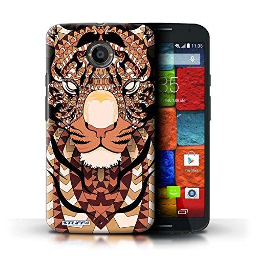 Kobalt® Imprimé Etui / Coque pour Motorola Moto X (2014) / Tigre-Rouge conception / Série Motif Animaux Aztec Tigre-Orange