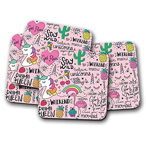 4er-Set - süßes Muster Einhorn Untersetzer - Stay Wild Flamingo Pink Mädchen Geschenk #15277